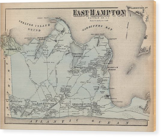 Map Of East Hampton 1873 Wood Print