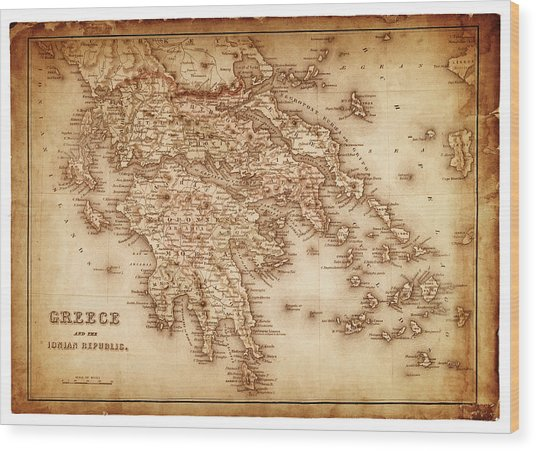 Map Of Greece 1854 Wood Print