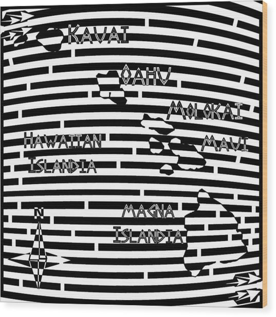 Map Of Hawaii Maze Wood Print by Yonatan Frimer Maze Artist