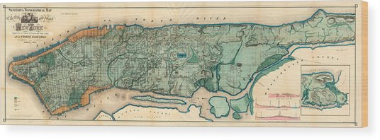 Map Of Manhattan Wood Print