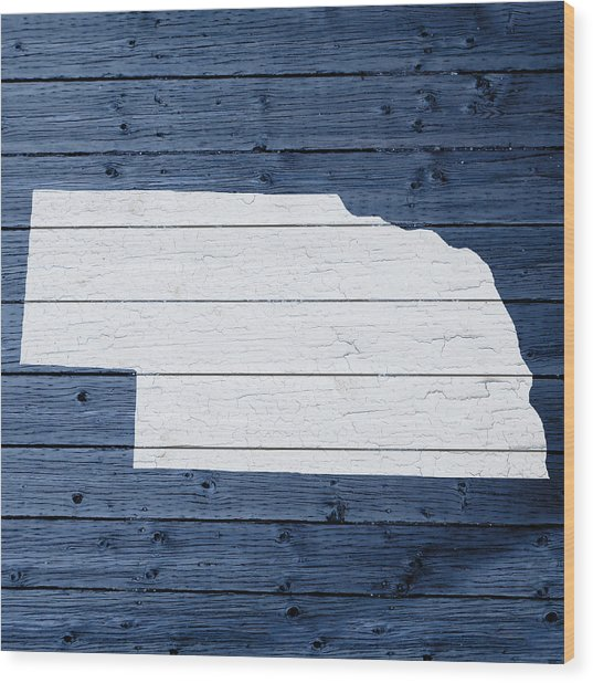 Map Of Nebraska State Outline White Distressed Paint On Reclaimed Wood Planks Wood Print