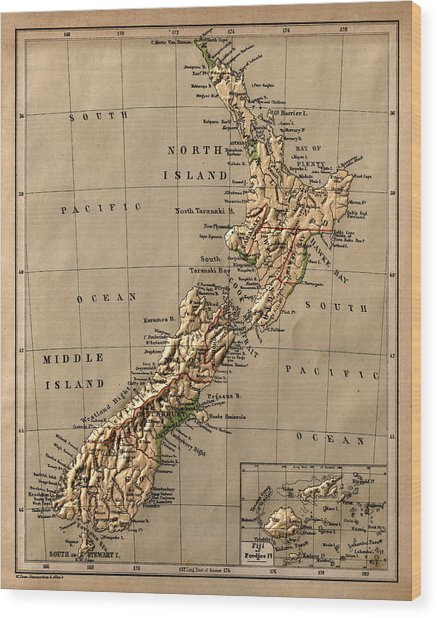 Map Of New Zealand 1880 Wood Print