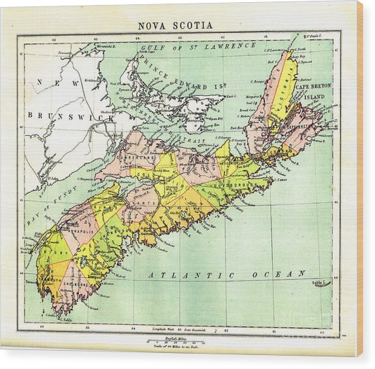 map of Nova Scotia - 1878 Wood Print