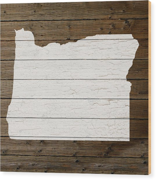 Map Of Oregon State Outline White Distressed Paint On Reclaimed Wood Planks Wood Print