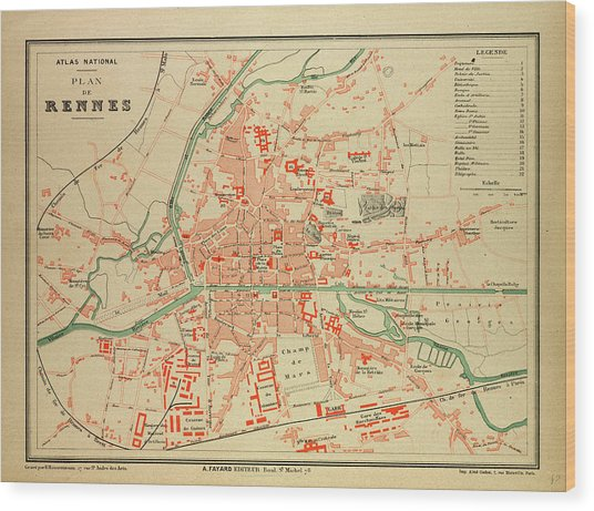Map Of France Rennes.Map Of Rennes France Drawing By French School