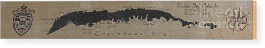 Map Of Roatan Bay Islands Wood Print