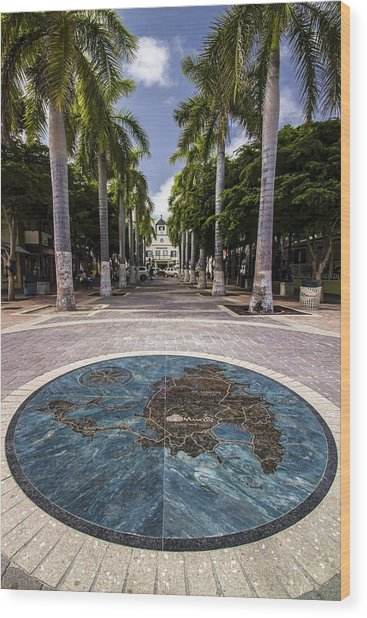 Map Of St. Maarten In The Boardwalk Wood Print
