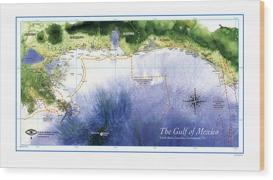 Map Of The Gulf Of Mexico Northern Coast Wood Print