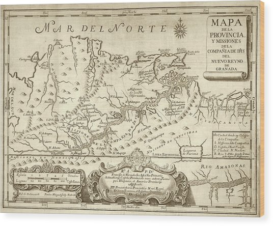 Map Of The Orinoco River Wood Print by Library Of Congress
