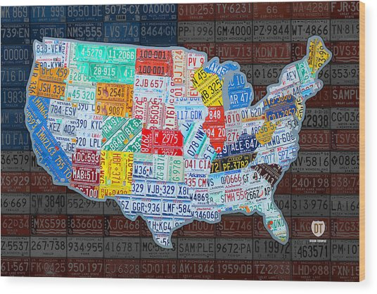Map Of The United States In Vintage License Plates On American Flag Wood Print