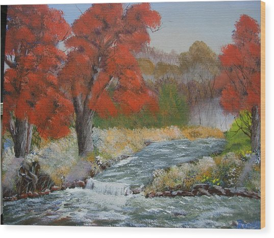 Maples On A Mountain Stream Wood Print by Joe Reynolds