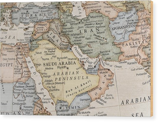 Maps Of Countries In Middle East Wood Print by KeithBinns