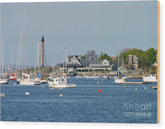 Marblehead Light And Yacht Club Wood Print