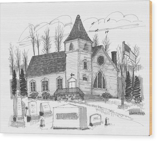 Marbletown Church Wood Print