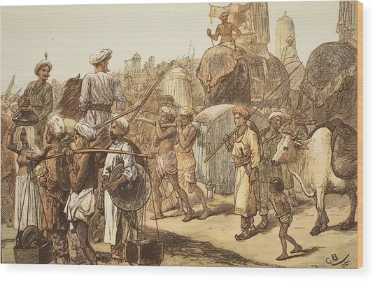 March Of The Indian Army, Engraved Wood Print
