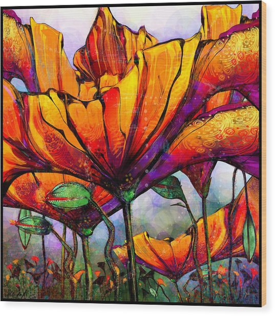 March Of The Poppies Wood Print