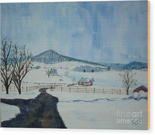 March Snow On Mole Hill - Sold Wood Print by Judith Espinoza