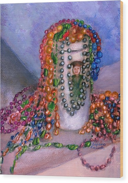 Mardi Gras Beads In Louisiana Wood Print