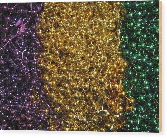 Mardi Gras Beads - New Orleans La Wood Print