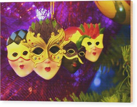 Mardi Gras Christmas Wood Print