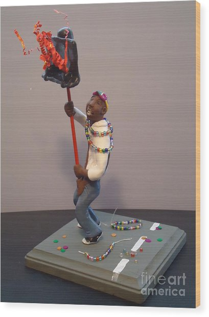 Mardi Gras Flambeau Wood Print by Katie Spicuzza