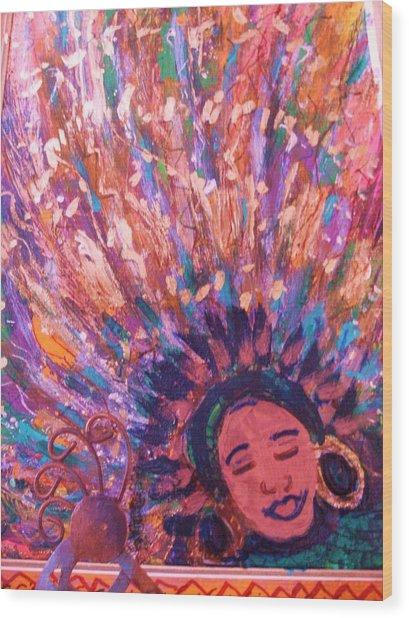 Mardi Gras Girl Revisited Wood Print by Anne-Elizabeth Whiteway