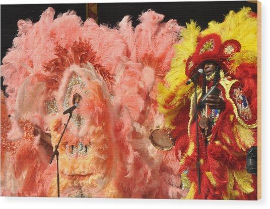 Mardi Gras Indians Wood Print