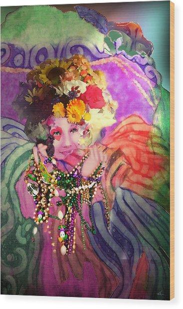 Mardi Gras Queen Wood Print