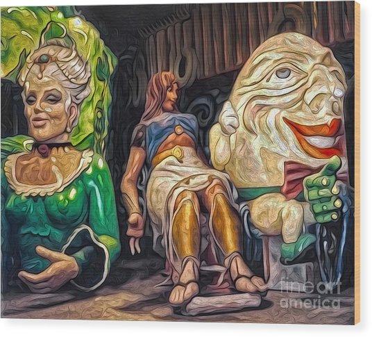 Mardi Gras World - Humpty Dumpty And Showgirls Wood Print by Gregory Dyer