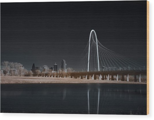 Margaret Hunt Hill Bridge And Dallas Skyline In Infrared Wood Print