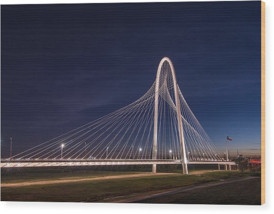 Margaret Hunt Hill Bridge In Dallas At Night Wood Print