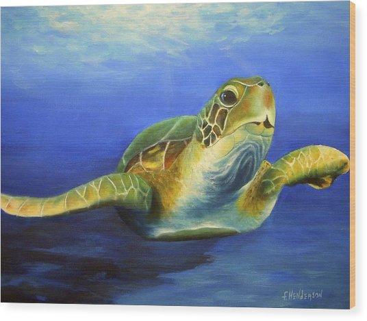 Margie The Sea Turtle Wood Print