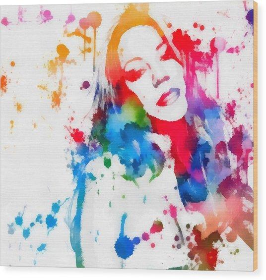 Mariah Carey Watercolor Paint Splatter Wood Print
