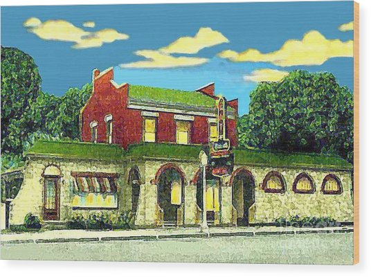 Marie's Bowling Alley Cafe And Bar In Sauk City Wi Around 1940 Wood Print by Dwight Goss