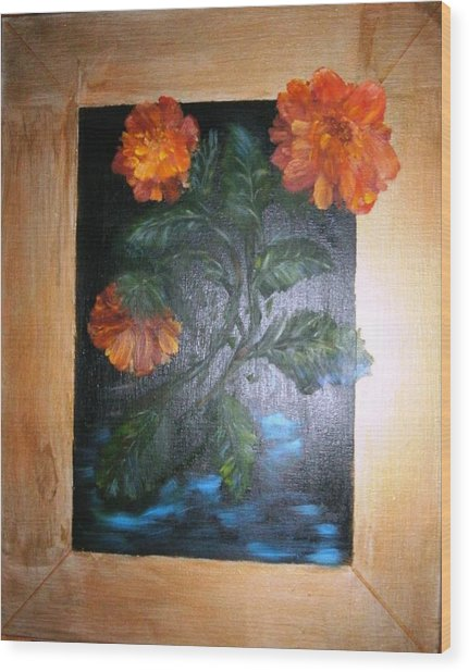 Marigolds Wood Print by Karen Lipek