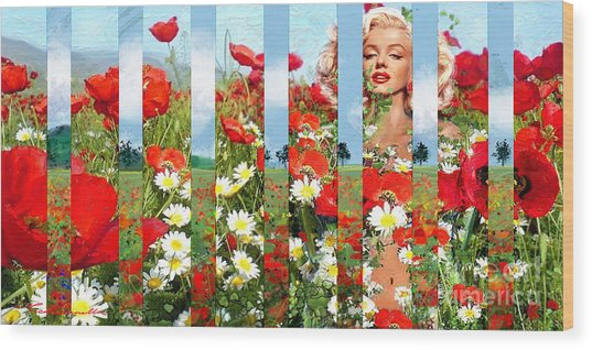 Marilyn In Poppies 1 Wood Print