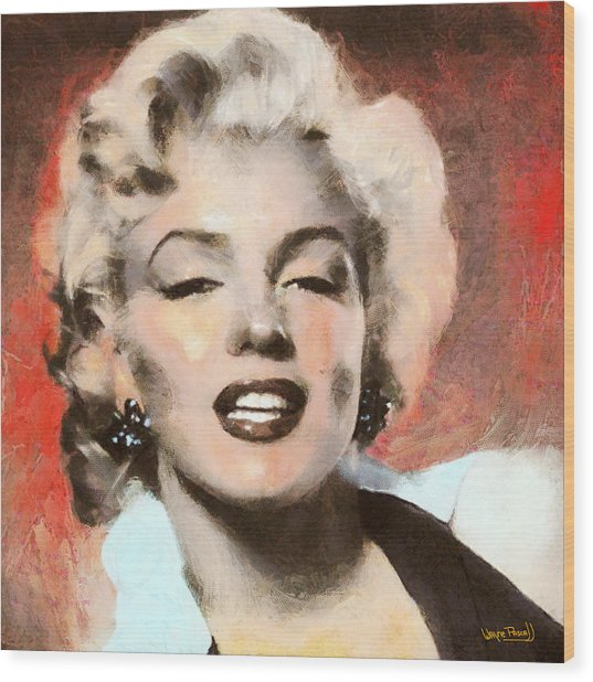 Marilyn In Retro Color Wood Print