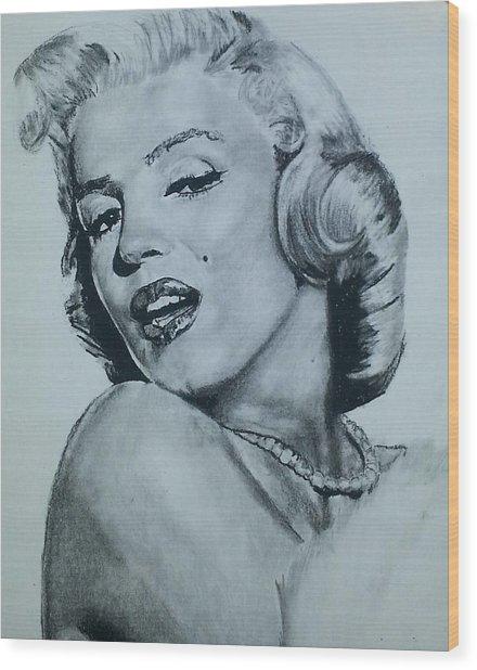 Marilyn Monroe Wood Print by Aaron Balderas