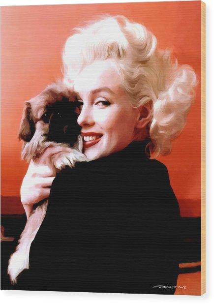 Marilyn Monroe And Pekingese Portrait Wood Print