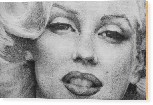 Wood Print featuring the painting Marilyn Monroe - Close Up by Jani Freimann