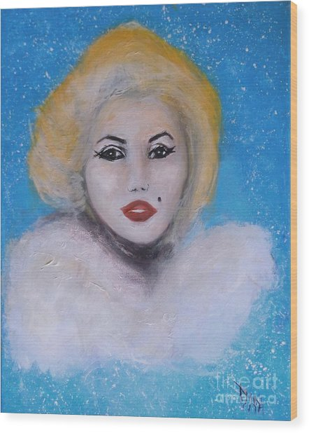 Marilyn Monroe Out Of The Blue Into The White Wood Print