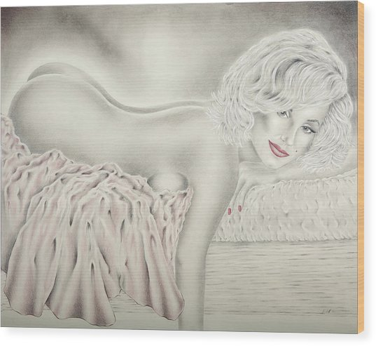 Marilyn Monroe Reclining Nude Wood Print