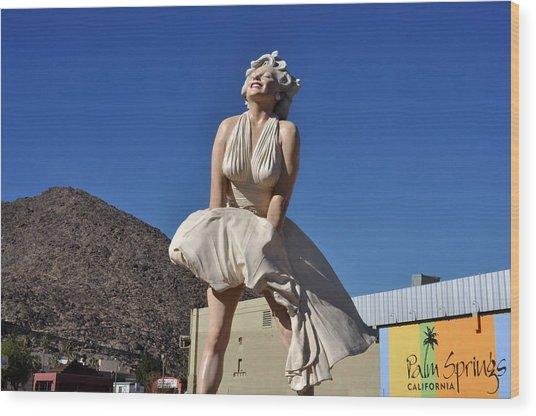 Marilyn Monroe Statue In Palm Springs California Wood Print
