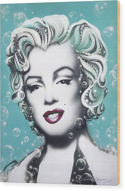 Marilyn Monroe Turquoise Wood Print by Alicia Hayes