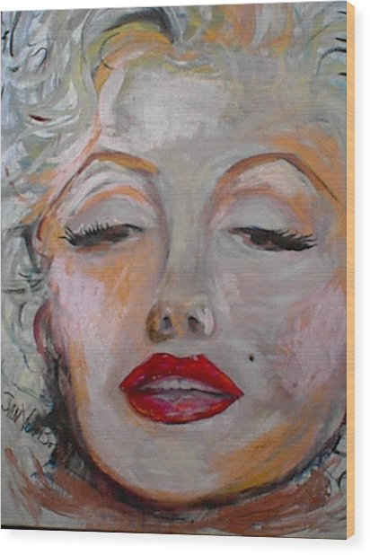 Marilyn With The Red Lips Wood Print