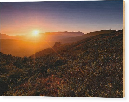 Marin County Sunset Wood Print