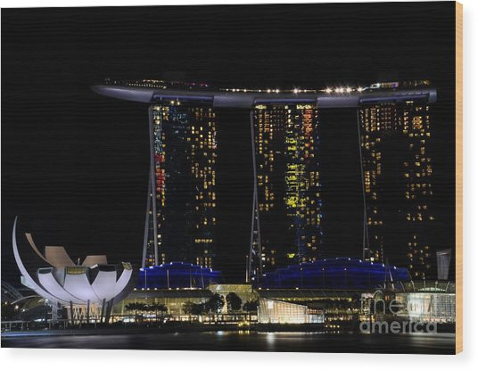 Marina Bay Sands Integrated Resort Hotel And Casino And Artscience Museum Singapore Marina Bay Wood Print
