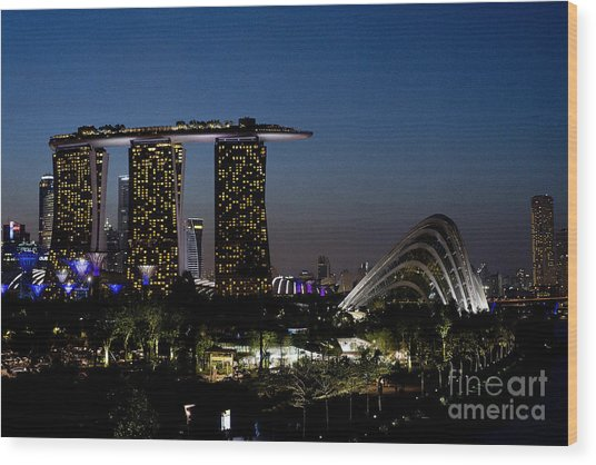 Marina Bay Skyline Wood Print