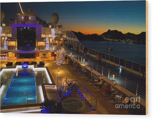 Marina Cruise Ship Pool Deck At Dusk Wood Print