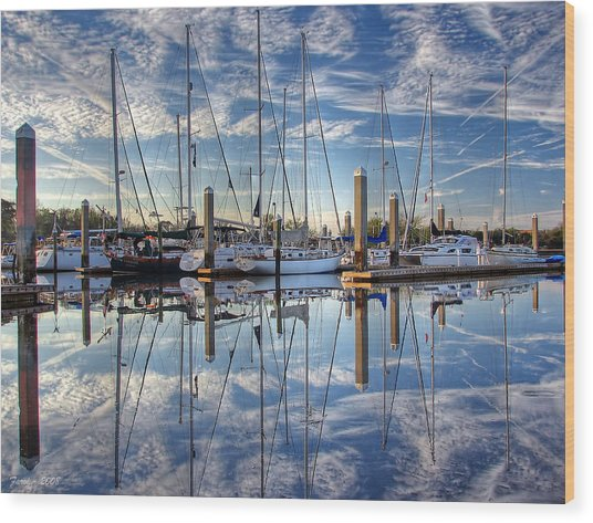 Marina Morning Reflections Wood Print